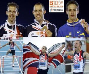 Układanka David Greene mistrz 400m przez płotki, Rhys Williams i Stanislav Melnykov (2 i 3) z Barcelona Mistrzostwa Europy w Lekkoatletyce 2010