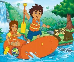 Układanka Diego i jego matkę w ponton