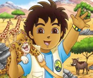 Układanka Diego i Mały Jaguar pomóc zwierzętom w niebezpieczeństwie w serii Dalej, Diego!