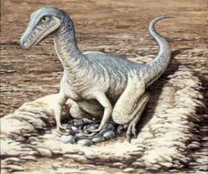 Układanka Dinozaur oglądanie jego jaj