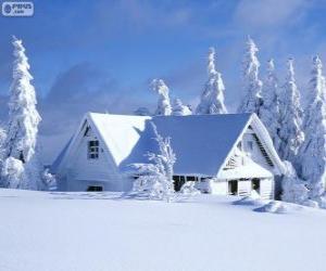 Układanka Dom snowy