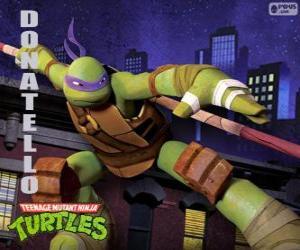 Układanka Donatello, broń tego żółwia ninja jest japoński długi kij Bo