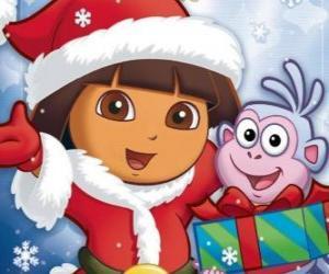 Układanka Dora Eksploratora świat życzy Wesołych Świąt Bożego Narodzenia