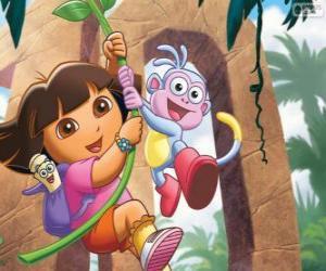 Układanka Dora i Boots w jednym z jego przygody