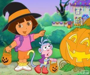 Układanka Dora i Buty małpa okazji Halloween
