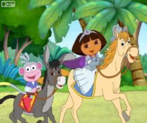 Układanka Dora i jej małpa Buty jazda konna