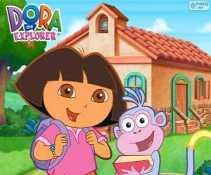 Układanka Dora i Obuwie iść do szkoły