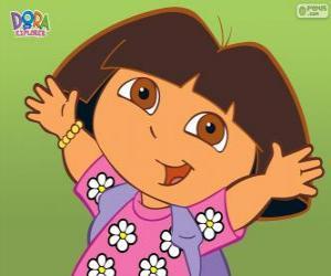 Układanka Dora poznaje świat z koszuli z kwiatami