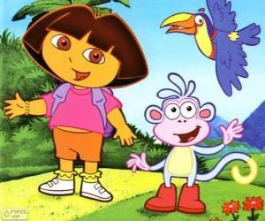 Układanka Dora the Explorer i jej przyjaciel Buty małpa