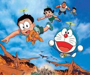 Układanka Doraemon kot z przyjaciółmi Nobita, Shizuka, Suneo i Takeshi