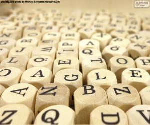Układanka Drewniane litery sześcianu