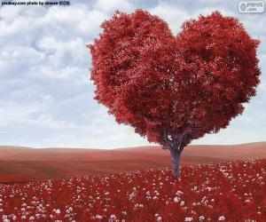 Układanka Drzewo kształt serca