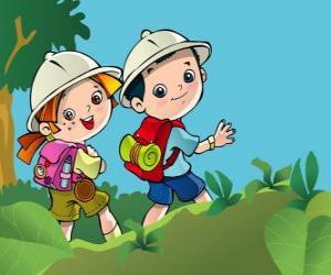 Układanka Dwóch młodych odkrywców na wyprawę