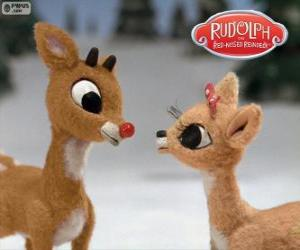 Układanka Dwóch młodych renifery Rudolf i Fireball
