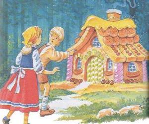 Układanka Dwóch rodzeństwo Jaś i Małgosia odkrywają dom z przepyszne cukierki