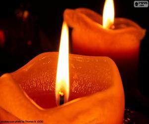 Układanka Dwa świąteczne świece