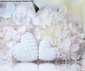 Układanka Dwa białe serca