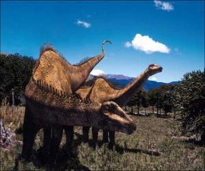 Układanka Dwa dinozaury na krajobraz