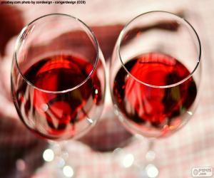 Układanka Dwa kieliszki wina