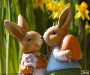 Układanka Dwa króliki Wielkanoc