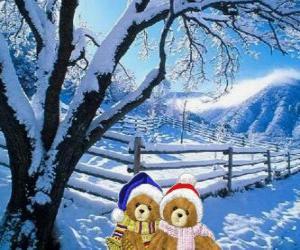 Układanka dwa niedźwiedzie bardzo ciepło krajobraz Boże Narodzenie