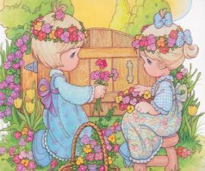 Układanka Dwie dziewczyny zbierać kwiaty. Precious Moments