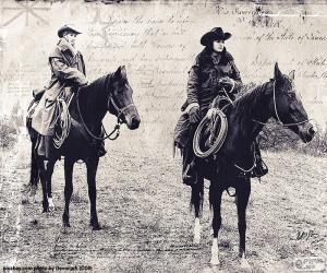 Układanka Dwie kobiety cowboy