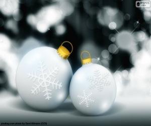 Układanka Dwie kule białe Boże Narodzenie