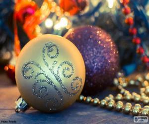 Układanka Dwie kule elegancki Boże Narodzenie