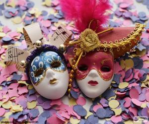 Układanka Dwie maski i konfetti