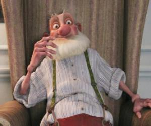 Układanka Dziadek, zepsuty stary ojciec Santa, który nienawidzi współczesnego świata