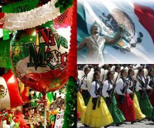 Układanka Dzień Niepodległości Meksyku. Upamiętnia 16 września 1810, początek walki z rządów hiszpańskich