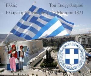 Układanka Dzień Niepodległości w Grecji, 25 marca 1821 roku. War of Independence Revolution lub greckiego