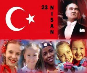 Układanka Dzień Suwerenności Narodowej i dzieci jest co trzymać w Turcji 23 kwietnia