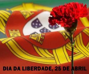 Układanka Dzień Wolności, 25 kwietnia świętem narodowym Portugalii z okazji rewolucji goździków z 1974 r.