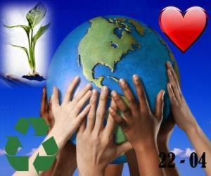 Układanka Dzień Ziemi, 22 kwietnia. Szczęśliwy świat, świat miłości do recyklingu i środowiska