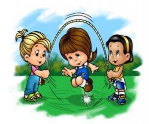 Układanka Dzieci bawiące się Skakanka
