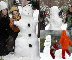 Układanka Dzieci bawiące się z Bałwan śniegowy