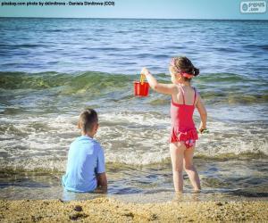 Układanka Dzieci korzystających z plaży
