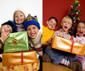 Układanka Dzieci prezenty świąteczne
