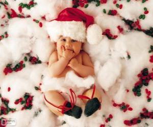 Układanka Dziecko kapelusz Świętego Mikołaja