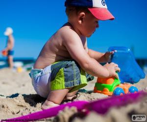 Układanka Dziecko na plaży