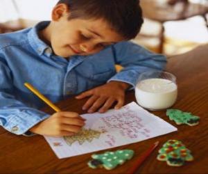Układanka Dziecko pisze list do Świętego Mikołaja
