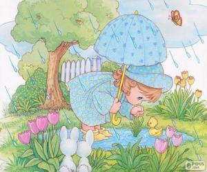 Układanka Dziewczyna na deszczowy dzień