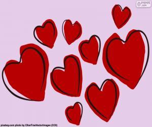 Układanka Dziewięć czerwone serca