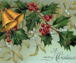 Układanka Dzwonki świąteczne zdobione Liście ostrokrzewu