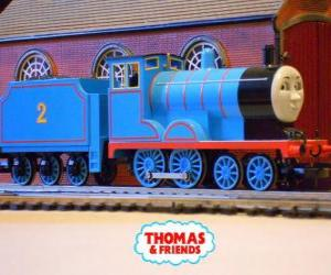Układanka Edward, lokomotywa w niebieski ma numer 2