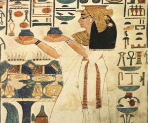Układanka Egyptian Kamień z wygrawerowanym reprezentacji bogini z napisami lub hieroglificzne