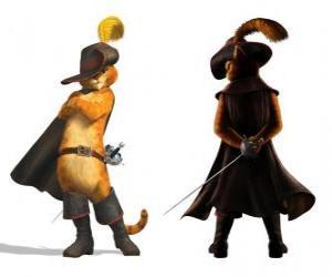 Układanka Elegancki Kot z mieczem za pasem, kapelusz, płaszcz i buty
