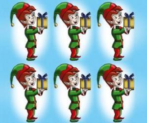 Układanka Elf Bożego Narodzenia lub kobold prowadzenia szkatułce